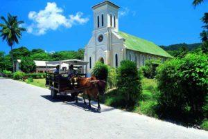 Ochsenkarren gehören zum Straßenbild auf den Seychellen
