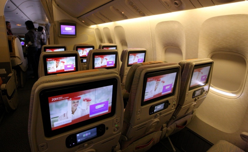 """Großbildschirme"" in Emirates-Flugzeugen"