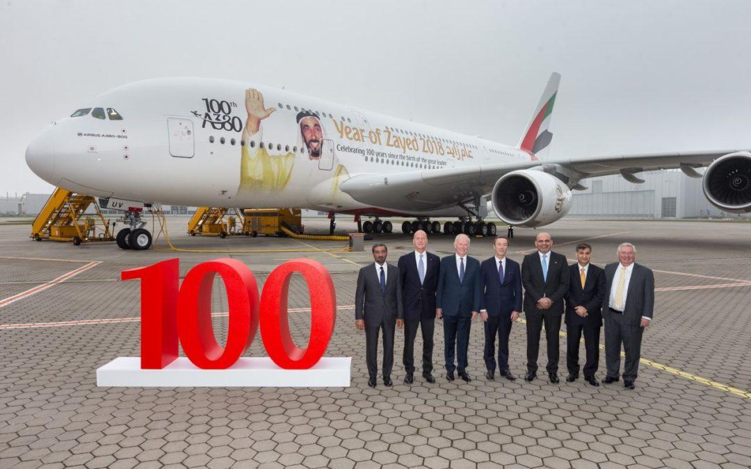Emirates begrüßt den 100. Airbus A380 in der Flotte