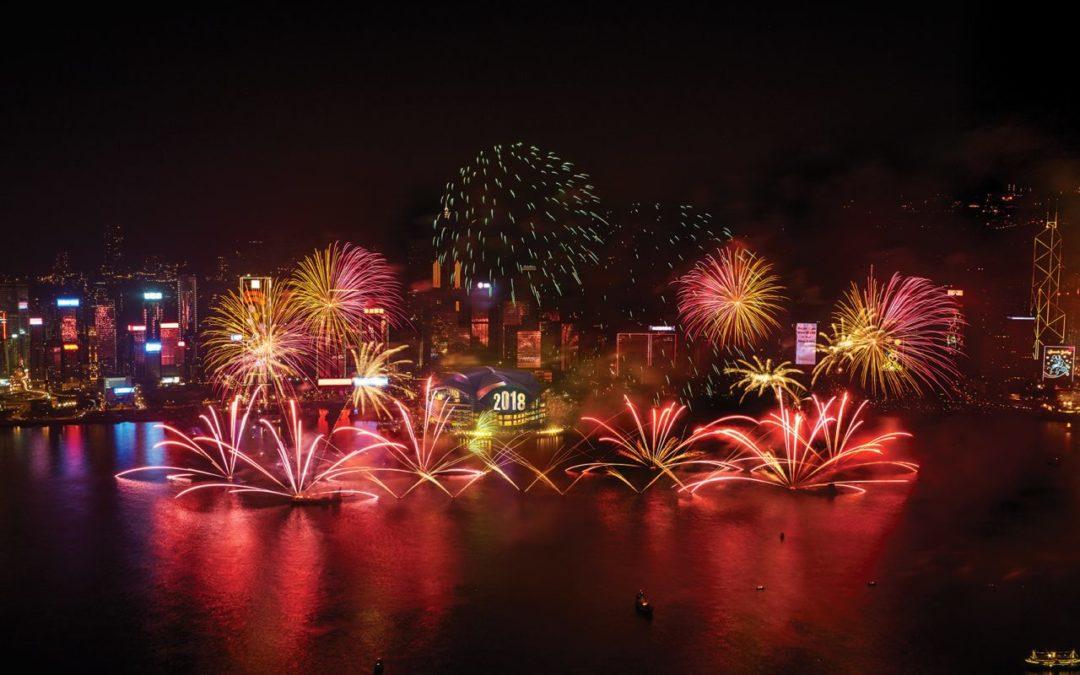 Große Silvesterparty 2017 in Hongkong mit Feuerwerk und Künstlern