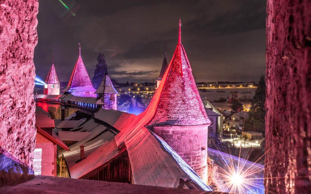 Künstlerische Inszenierungen beim Lichtfestival in der Altstadt von Murten