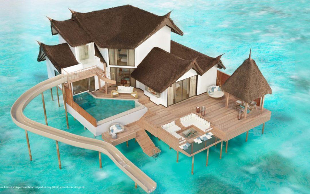 Wasservillen mit Wasserutschen im Jumeirah Vittaveli auf den Malediven