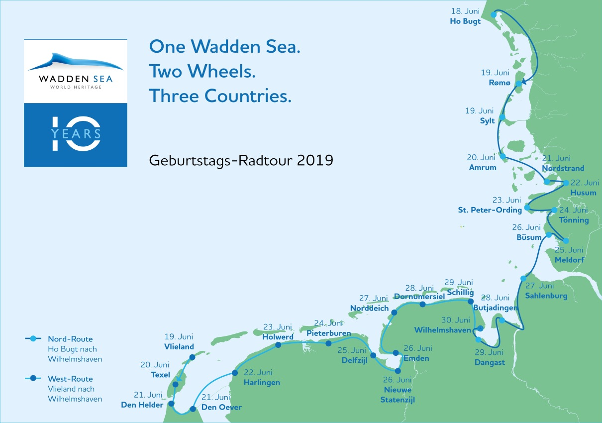 Streckenführung Wattenmeer Jubiläums Radtour 2019