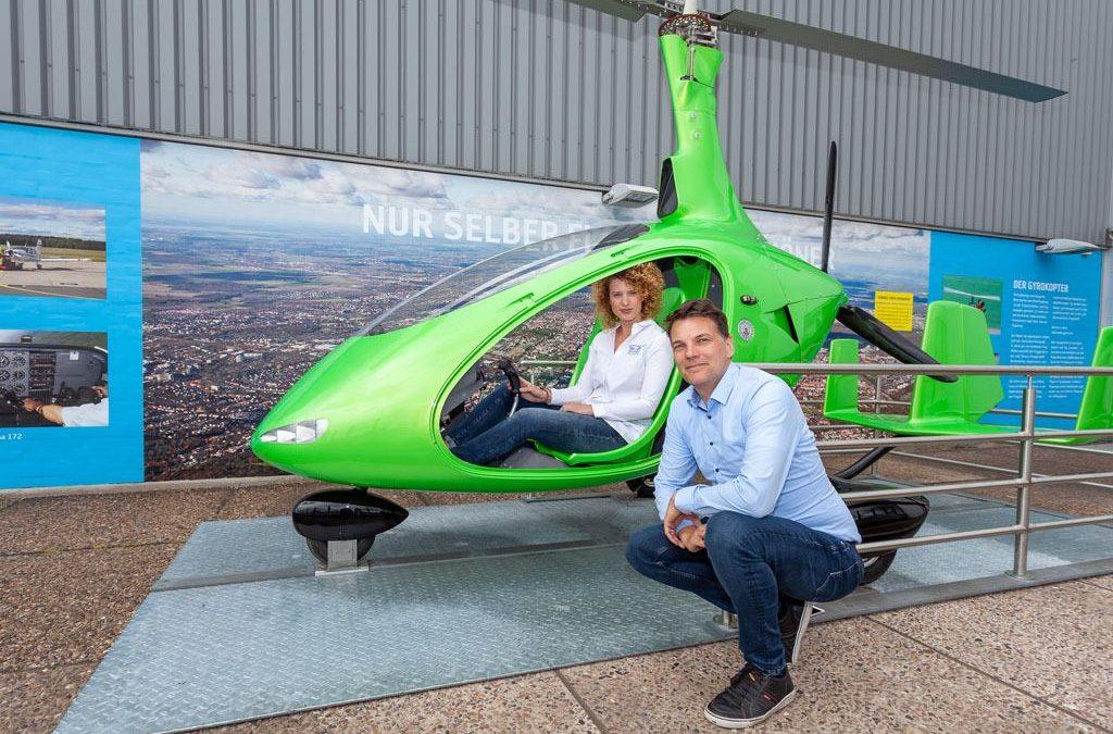 Gyrocopter in der Erlebniswelt am Flughafen Hannover