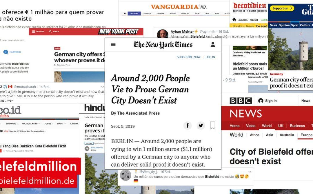 Weltweit Schlagzeilen für Bielefeld Stadtmarketing-Aktion