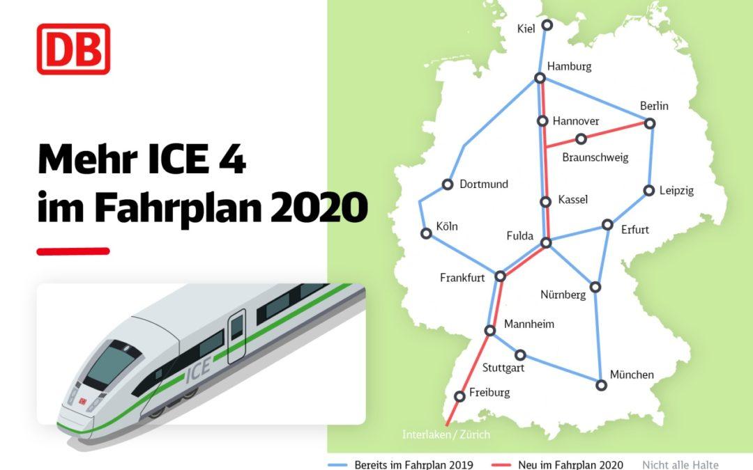 Deutsche Bahn: Mehr Züge auf wichtigen ICE-Linien im Fahrplan 2020