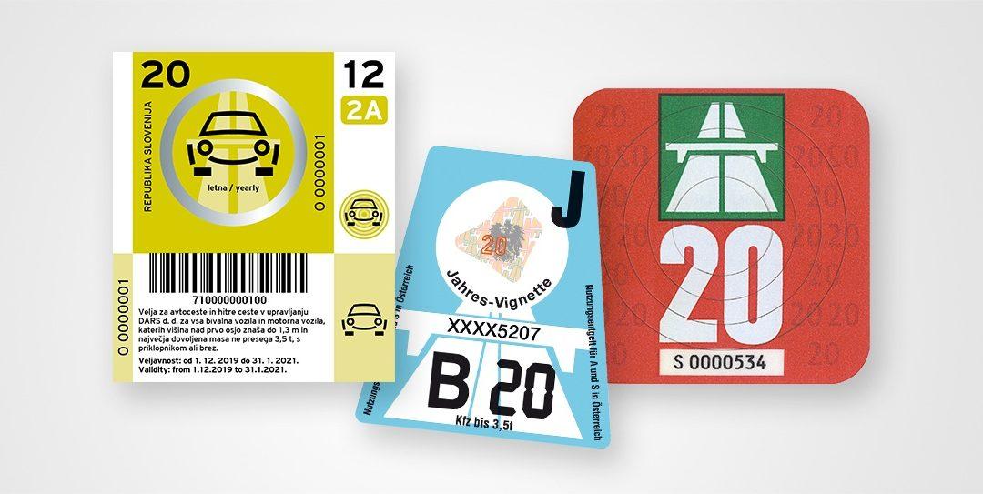 Vignettenpreise 2020 für Österreich, Slowenien und die Schweiz