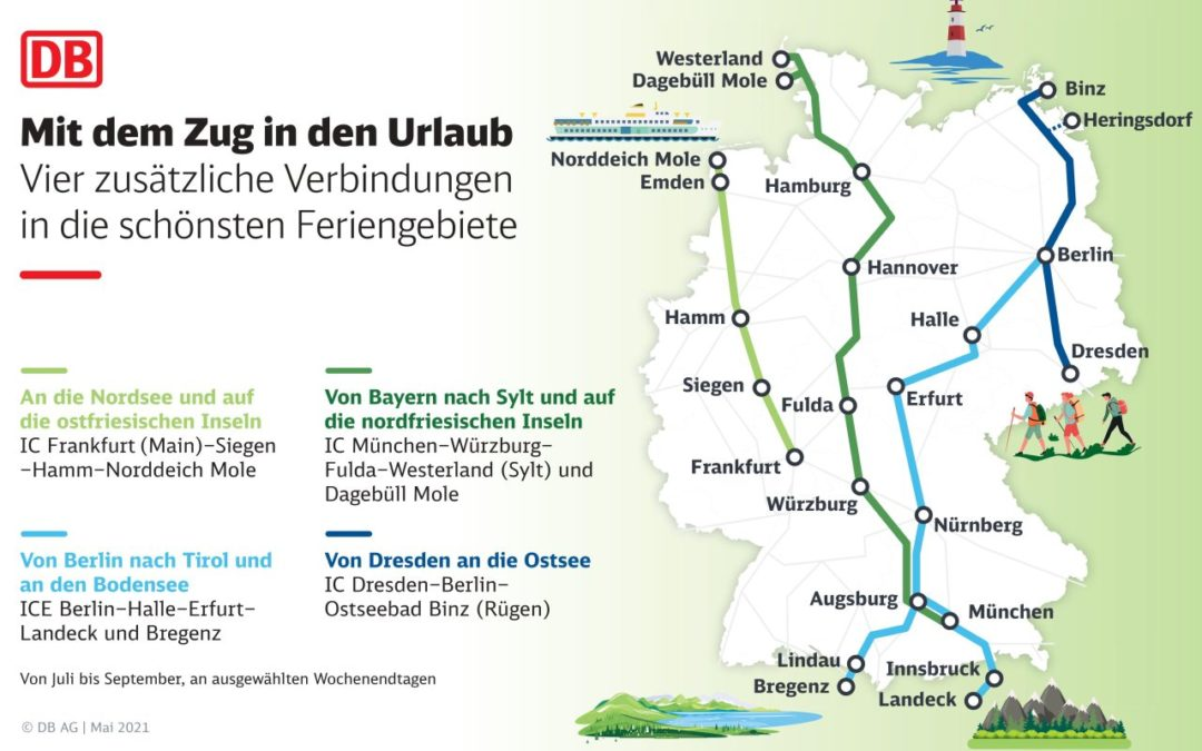 Mehr Züge im Sommerfahrplan 2021 bei der Deutschen Bahn