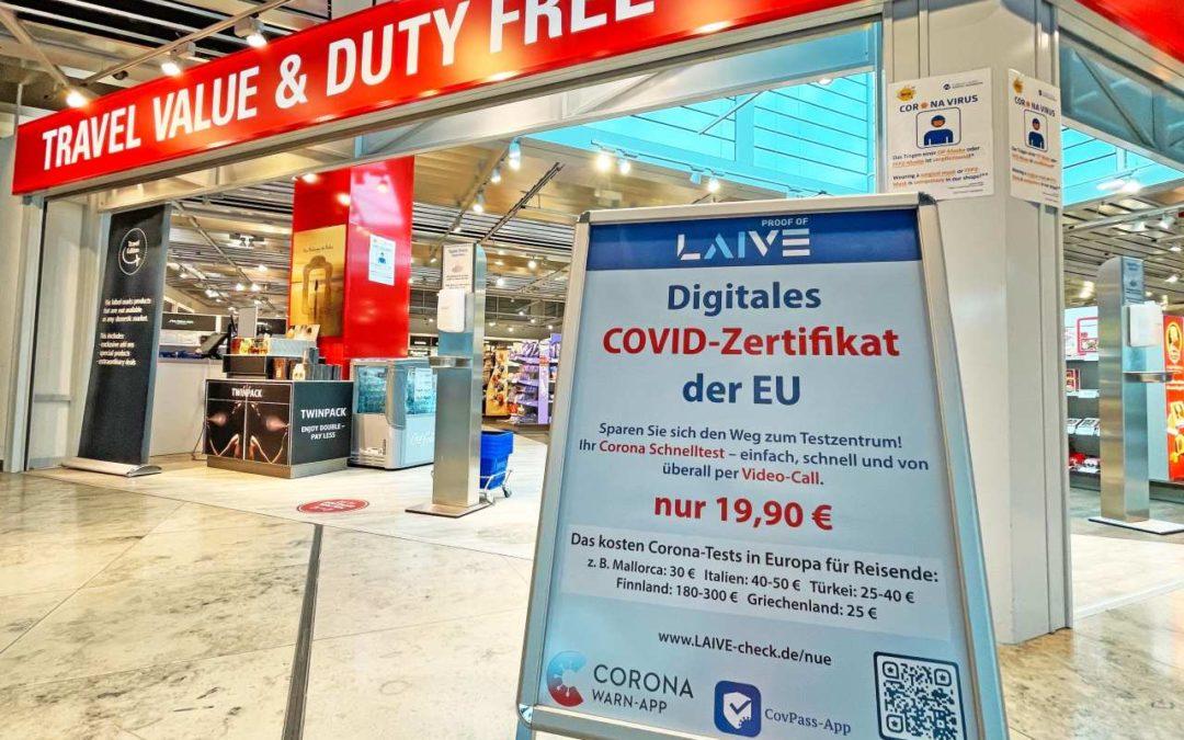 Videogeführter Corona-Selbsttest am Flughafen Nürnberg